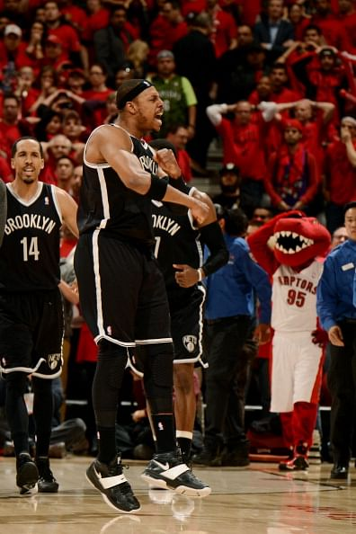 Paul Pierce #34 of the Brooklyn Nets celebrates after winning against the Toronto Raptors in Game Seven of the Eastern Conference Quarterfinals during the NBA Playoffs at the Air Canada Centre on May 4, 2014 in Toronto, Ontario, Canada.