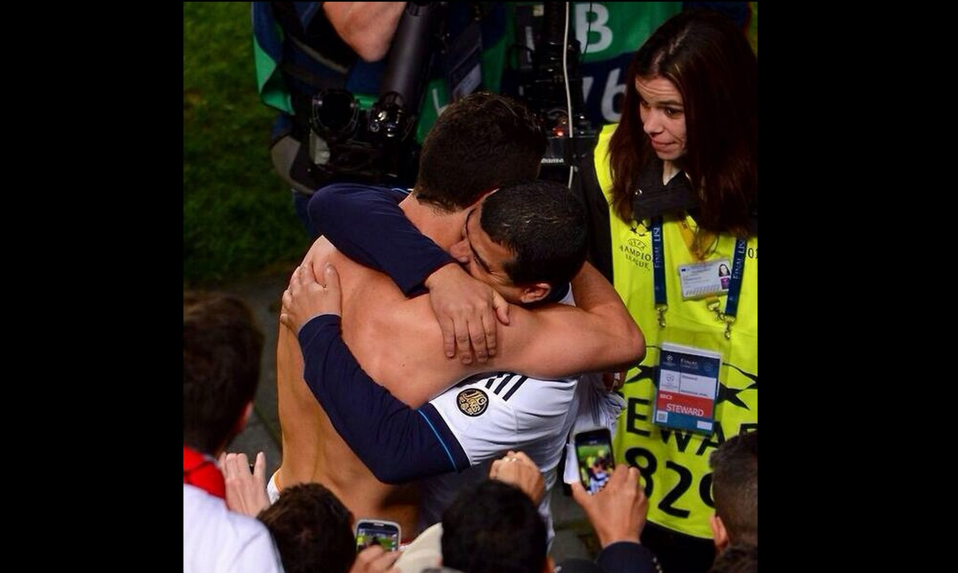 Cristiano Ronaldo hugs his brother Hugo after the match