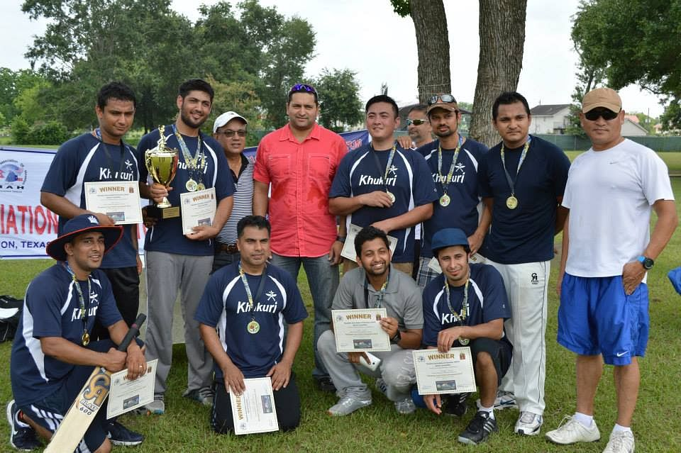 Khumbutse Khukuri Club with their title pose with Mr. Mr. Sushil Nadkarni (Red Shirt) captain of USA National Cricket Team