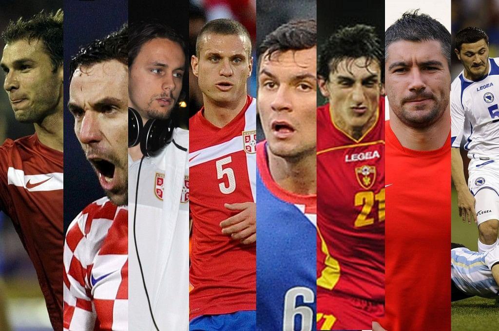 From Left to Right - Branislav Ivanovic, Darijo Srna, Neven Subotic, Nemanja Vidic, Dejan Lovren, Stefan Savic, Alexander Kolarov and Sead Kolasinac