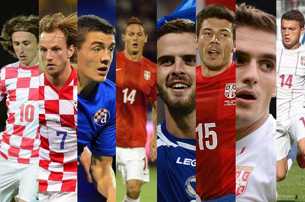 From Left to Right - Luka Modric, Ivan Rakitic, Mateo Kovacic, Nemanja Matic, Miralem Pjanic, Milos Jojic, Dusan Tadic and Adam Ljajic