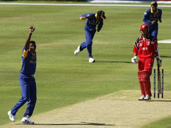 John Davison of Canada is dismissed by Prabath Nissanka in the 2003 World Cup