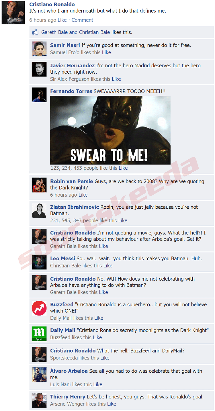 Cristiano Ronaldo Facebook Wall