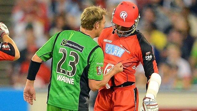 Shane Warne vs. Marlon Samuels – Melbourne Stars v Melbourne Renegades at Melbourne, Jan 6, 2013