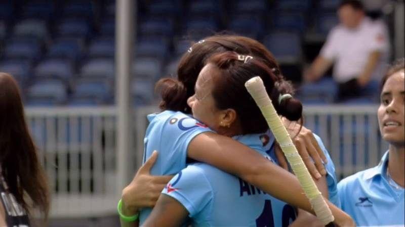 India celebrate Rani Rampal Goal Japan hockey