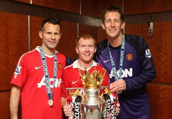 Ryan Giggs (L) has won 34 club trophies while Paul Scholes and Edwin van der Sar (R) have 25 each