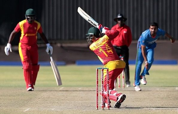 Sean Williams bats during the ODI series against Afghanistan