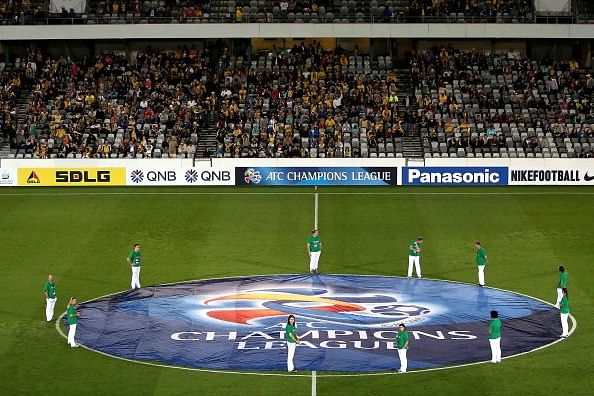 The AFC Champions League logo set out before the beginning of a match