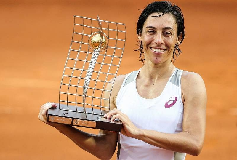 Francesca Schiavone with the Rio trophy on Sunday