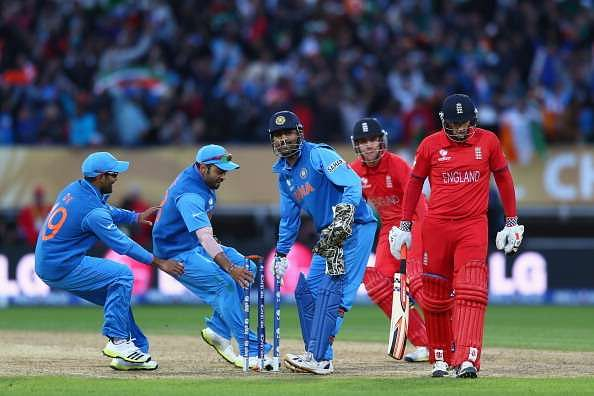 MS Dhoni celebrates as India beat England in the Champions Trophy Final