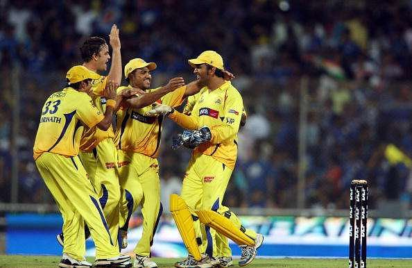 Dhoni is ecstatic after his team beat the Mumbai Indians in the IPL Final in 2010