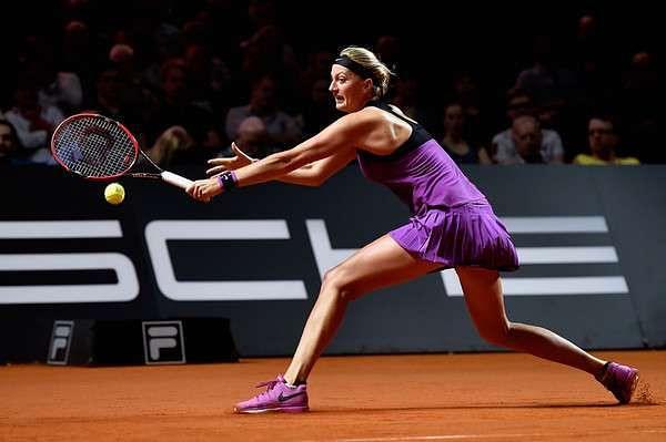 Petra Kvitova in action at Stuttgart on Friday