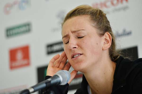 A dejected Victoria Azarenka attends her post-match press conference in Rome on Wednesday