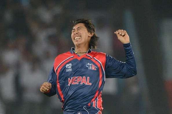 Shakti Gauchan celebrates after taking a wicket