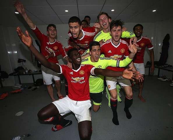 Axel Tuanzebe leading the celebrations after United won the U-21 league