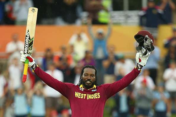 Chris Gayle of West Indies celebrates his double century during the 2015 ICC Cricket World Cup match in Canberra, Australia