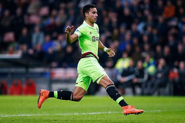 EINDHOVEN, NETHERLANDS - MARCH 20:  Anwar El Ghazi of Ajax in action during the Eredivisie match between PSV Eindhoven and Ajax Amsterdam held at Philips Stadium on March 20, 2016 in Eindhoven, Netherlands.  (Photo by Dean Mouhtaropoulos/Getty Images)