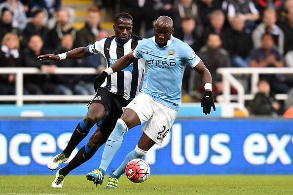 NEWCASTLE UPON TYNE, ENGLAND - APRIL 19:  Eliaquim Mangala of Manchester City controls the ball  during the Barclays Premier League match between Newcastle United and Manchester City at St James