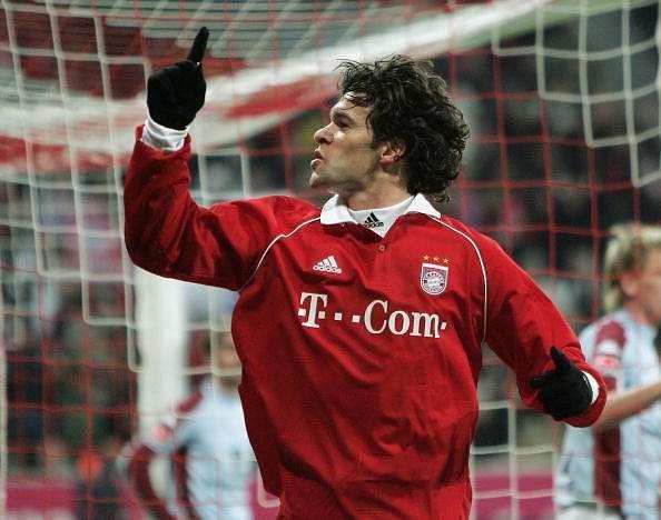 MUNICH, GERMANY - DECEMBER 11:  Michael Ballack of Bayern Munich celebrates scoring during the Bundesliga match between Bayern Munich and FC Kaiserslautern at the Allianz Arena on December 11, 2005, in Munich, Germany.  (Photo by Ben Radford/Getty Images).