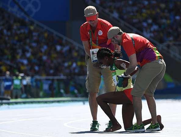 Etenesh Diro 3000m steeplechase without shoe