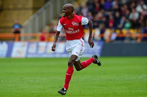 BARNET, ENGLAND - JUNE 23: Mo Farah of Arsenal Legends XI in action during the charity football match between Arsenal Legends XI and World Refugee Internally Displaced Persons (IDP) XI at Underhill Stadium on June 23, 2013 in Barnet, United Kingdom. (Photo by Alex Broadway/Getty Images)
