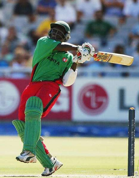 CAPE TOWN - MARCH 7:  Kennedy Otieno of Kenya in action during the ICC Cricket World Cup Super Six game between Kenya and India at Newlands in Cape Town, South Africa on March 7, 2003. (Photo by Mike Hewitt/Getty Images)