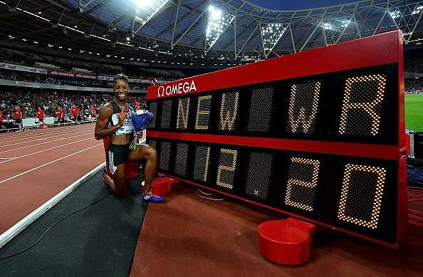 LONDON, ENGLAND - JULY 22:  Kendra Harrison of The USA celebrates after setting a new world record in the womens 100m hurdles during Day One of the Muller Anniversary Games at The Stadium - Queen Elizabeth Olympic Park on July 22, 2016 in London, England.  (Photo by Dan Mullan/Getty Images)