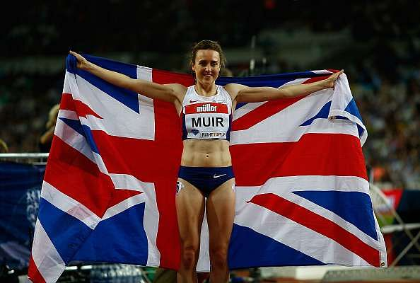 LONDON, ENGLAND - JULY 22:  Laura Muir of Great Britain celebrates after setting a new british record in the womens 1500m during Day One of the Muller Anniversary Games at The Stadium - Queen Elizabeth Olympic Park on July 22, 2016 in London, England.  (Photo by Christopher Lee/Getty Images )