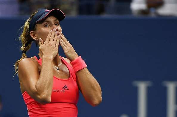 NEW YORK, NY - SEPTEMBER 10:  Angelique Kerber of Germany reacts after winning (6-3) (4-6) (6-4) against Karolina Pliskova of the Czech Republic during their Women
