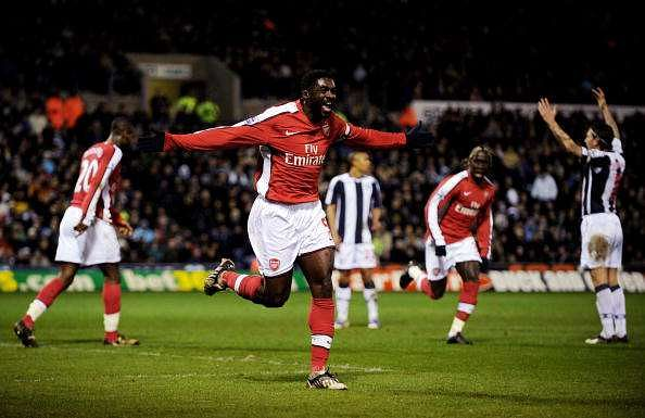 WEST BROMWICH, UNITED KINGDOM - MARCH 03:  Kolo Toure of Arsenal celebrates after scoring their second goal during the Barclays Premier League match between West Bromwich Albion and Arsenal at The Hawthorns on March 3, 2009 in Birmingham, England.  (Photo by Shaun Botterill/Getty Images)