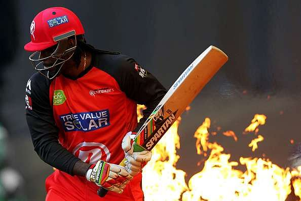 Gayle's explosive batting style is partly thanks to his bat