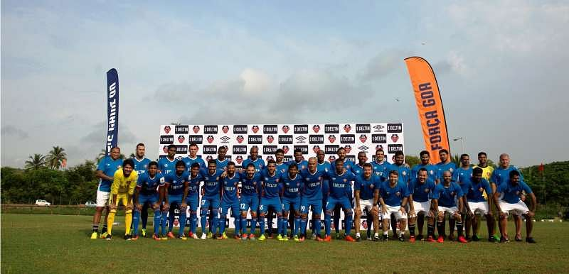 FC Goa players along with Head coach and manager Zico and technical staff at the squard launch in Goa.jpg