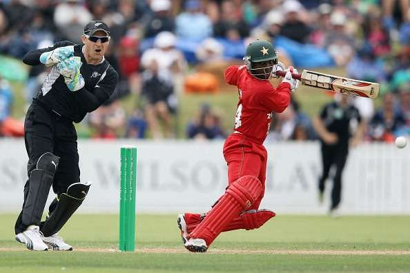 WHANGAREI, NEW ZEALAND - FEBRUARY 06: Tatenda Taibu of Zimbabwe cuts the ball away for four runs during game two of the One Day International series between New Zealand and Zimbabwe at Cobham Oval on February 6, 2012 in Whangarei, New Zealand.  (Photo by Hannah Peters/Getty Images)