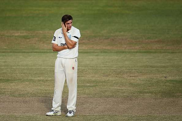 ALICE SPRINGS, AUSTRALIA - MARCH 18:  Sean Abbott of the Blues shows his frustration after bowling during day four of the Sheffield Shield match between Victoria and New South Wales at Traeger Park on March 18, 2016 in Alice Springs, Australia.  (Photo by Matt King/Getty Images)