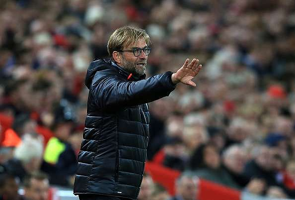 LIVERPOOL, ENGLAND - OCTOBER 22:  Manager of Liverpool Jurgen Klopp reacts on the sideline during the Premier League match between Liverpool and West Bromwich Albion at Anfield on October 22, 2016 in Liverpool, England.  (Photo by Jan Kruger/Getty Images)