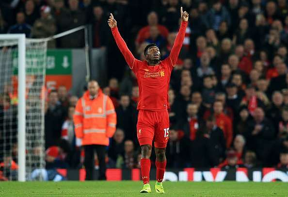 LIVERPOOL, ENGLAND - OCTOBER 25: Daniel Sturridge of Liverpool celebrates scoring his sides second goal during the EFL Cup fourth round match between Liverpool and Tottenham Hotspur at Anfield on October 25, 2016 in Liverpool, England.  (Photo by Jan Kruger/Getty Images)