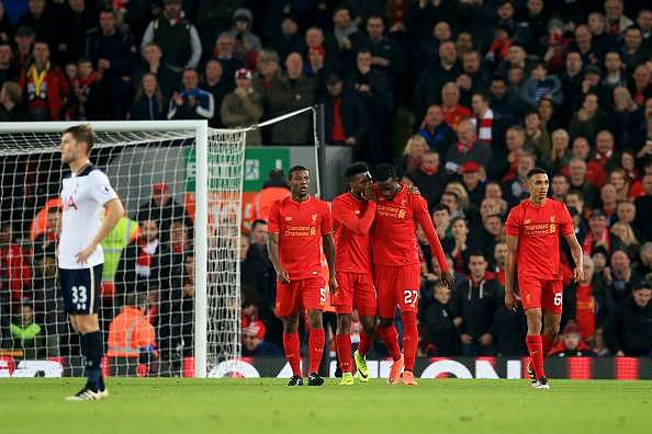 LIVERPOOL, ENGLAND - OCTOBER 25:  Daniel Sturridge of Liverpool celebrates scoring his sides second goal with his team mates during the EFL Cup fourth round match between Liverpool and Tottenham Hotspur at Anfield on October 25, 2016 in Liverpool, England.  (Photo by Jan Kruger/Getty Images)