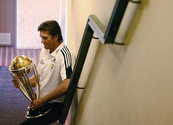 SYDNEY, AUSTRALIA - MAY 03:  Glenn McGrath poses with the ICC World Cup trophy at the  Australian World Cup team breakfast at the Sydney Cricket Ground Members Dining Room on May 3, 2007 in Sydney, Australia. The Australian World Cup team returned home from the West Indies today following their victory in the ICC Cricket World Cup Final against Sri Lanka on April 28, 2007.  (Photo by Corey Davis/Getty Images)