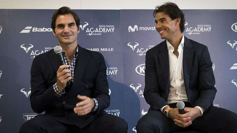 Roger Federer (left) and Rafael Nadal at the inauguration of the latter