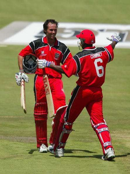 John Davison after his century against the West Indies during the 2003 World Cup