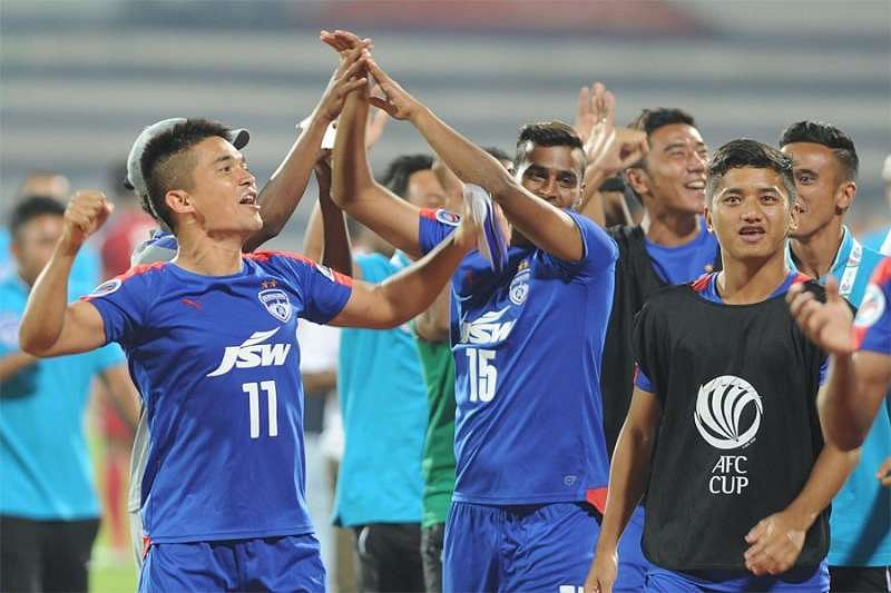 Sunil Chhetri celebrating with teammates after the game (Image Courtesy TOI)