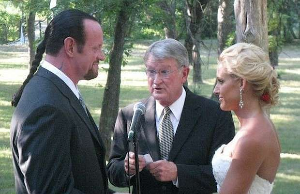 The Undertaker and Michelle McCool being married in a solemn ceremony in Houston, Texas