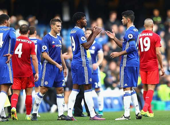 LONDON, ENGLAND - OCTOBER 15:  Nathaniel Chalobah of Chelsea and Diego Costa of Chelsea embrace after the final whistle during the Premier League match between Chelsea and Leicester City at Stamford Bridge on October 15, 2016 in London, England.  (Photo by Ian Walton/Getty Images)