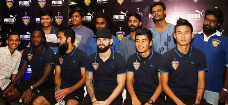 Chennaiyin FC players fans PUMA store 2016 ISL Indian Super League Siam Hangal, Bernard Mendy, Hans Mulder, Mehrajuddin Wadoo, Anirudh Thapa