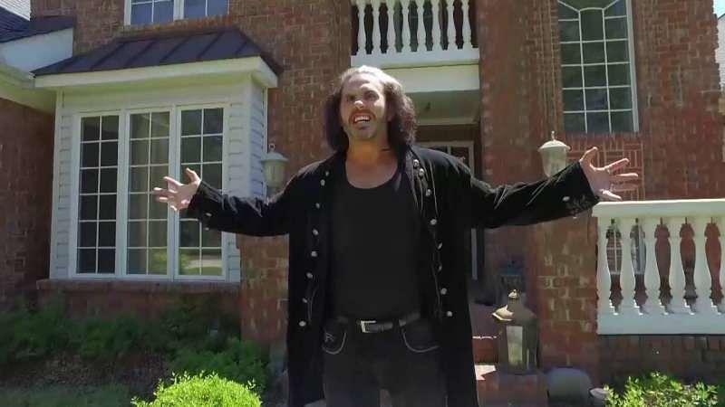 Broken Matt Hardy in front his mansion