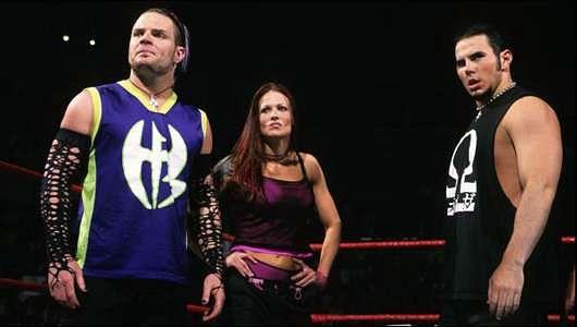 Matt Hardy, Jeff Hardy and Lita in the ring