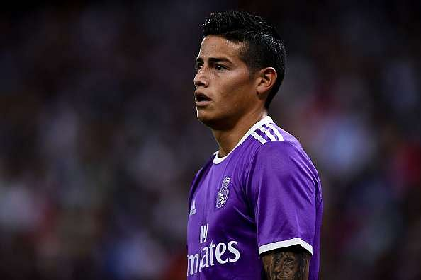 BARCELONA, SPAIN - SEPTEMBER 18:  James Rodriguez of Real Madrid CF looks on during the La Liga match between RCD Espanyol and Real Madrid CF at the RCDE stadium on September 18, 2016 in Barcelona, Spain.  (Photo by David Ramos/Getty Images)