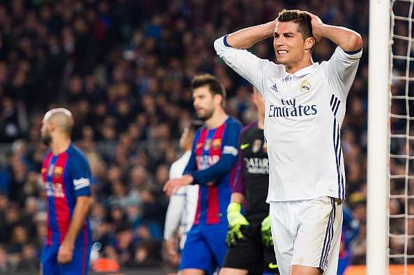BARCELONA, SPAIN - DECEMBER 03:  Cristiano Ronaldo of Real Madrid CF reacts during the La Liga match between FC Barcelona and Real Madrid CF at Camp Nou stadium on December 3, 2016 in Barcelona, Spain.  (Photo by Alex Caparros/Getty Images)