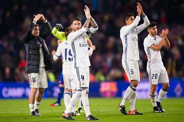 BARCELONA, SPAIN - DECEMBER 03:  Sergio Ramos of Real Madrid CF applauds after the La Liga match between FC Barcelona and Real Madrid CF at Camp Nou stadium on December 3, 2016 in Barcelona, Spain.  (Photo by Alex Caparros/Getty Images)