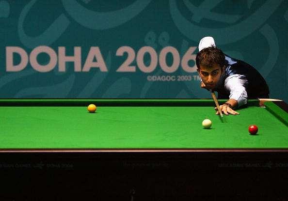 DOHA, QATAR - DECEMBER 05:  Pankaj Arjan Advani of India poses after claiming the Gold Medal in the Men